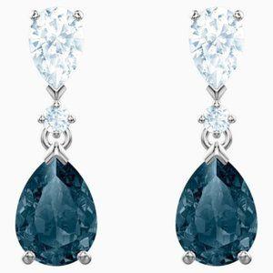 Swarovski vintage pierced earrings, blue